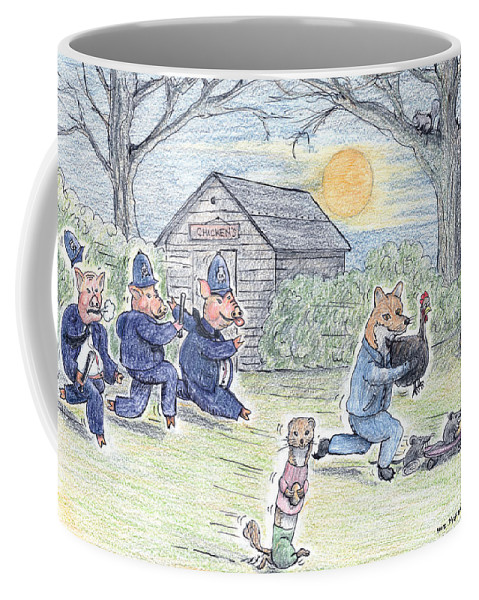 Pig Coffee Mug featuring the painting Cops And Robbers by Steve Royce Griffin