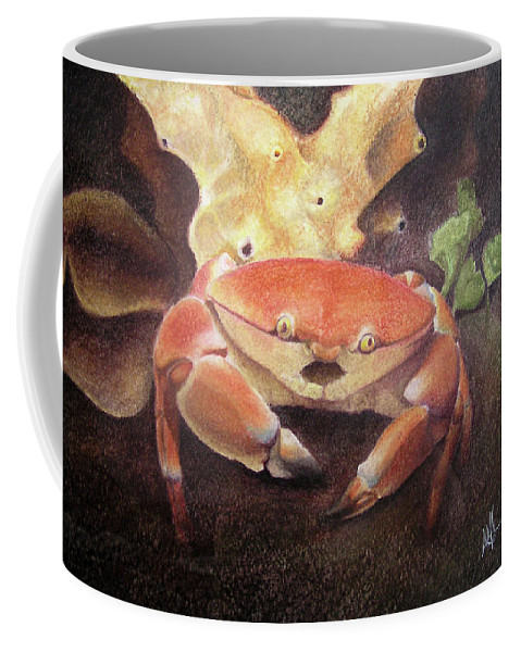 Animals Coffee Mug featuring the painting Coral Crab by Adam Johnson