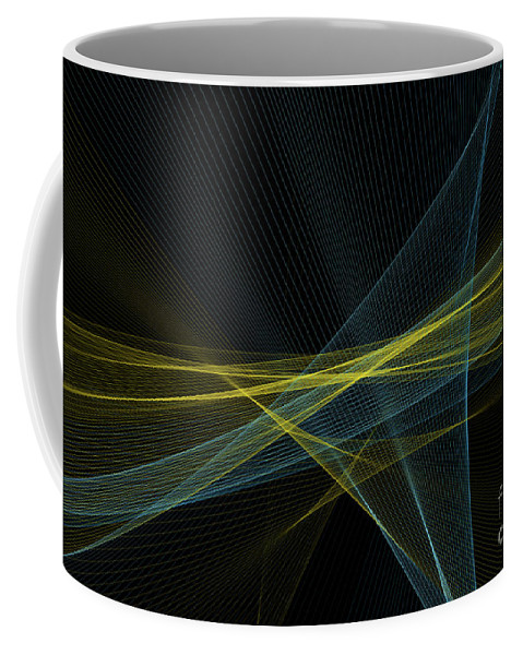 Abstract Coffee Mug featuring the digital art Coral Reef Computer Graphic Line Pattern by Frank Ramspott