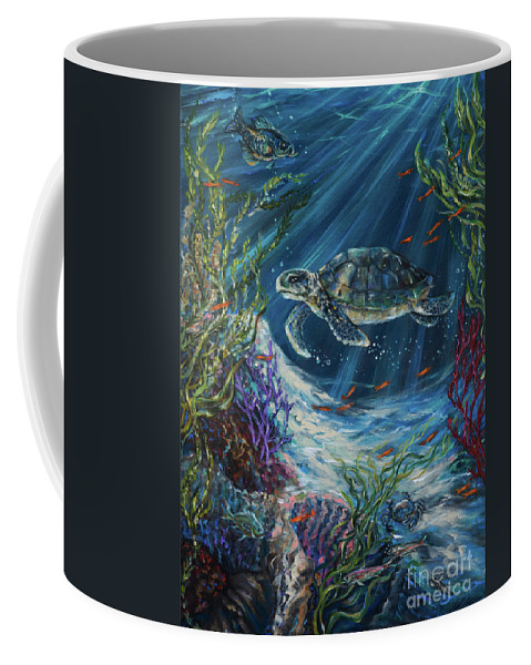 Sea Turtle Coffee Mug featuring the painting Coral Reef Turtle by Linda Olsen
