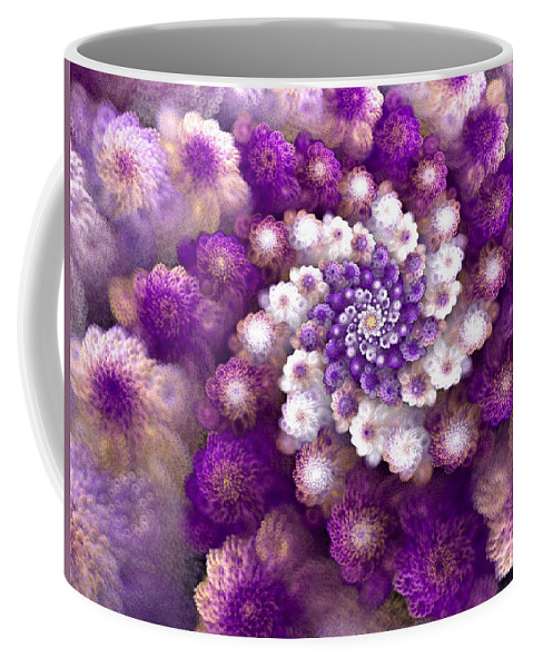 Fractal Coffee Mug featuring the digital art Coraled Blooms by Amorina Ashton