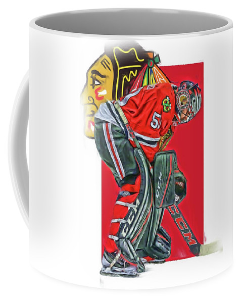Corey Crawford Coffee Mug featuring the mixed media Corey Crawford Chicago Blackhawks Oil Art by Joe Hamilton