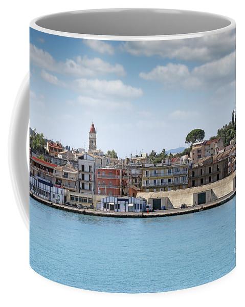 Port Coffee Mug featuring the photograph Corfu Town Port With Warehouses by Goce Risteski