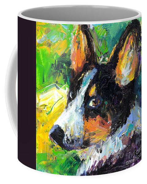 Corgi Dog Coffee Mug featuring the painting Corgi Dog Portrait by Svetlana Novikova