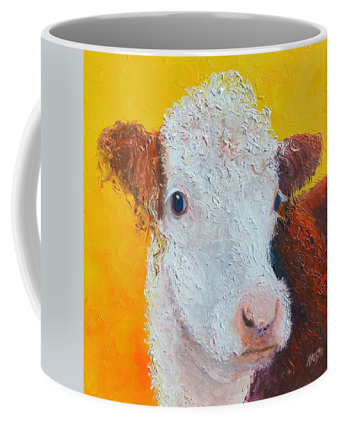 Cow Coffee Mug featuring the painting Coriander The Cow by Jan Matson