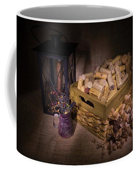 Cork Coffee Mug featuring the photograph Cork And Basket And Lamp by Douglas Barnett