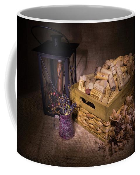Cork Coffee Mug featuring the photograph Cork Basket Candle Lamp by Douglas Barnett