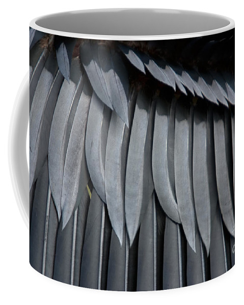 Nature Coffee Mug featuring the photograph Cormorant Wing Feathers Abstract by John Harmon