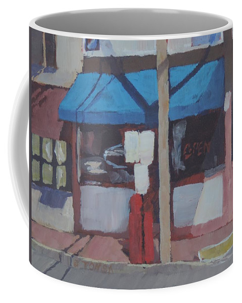Corner Mom And Pop Coffee Mug featuring the painting Corner Mom And Pop by Bill Tomsa