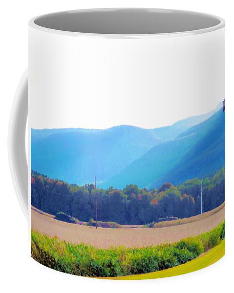 Cornfield On Bright Autumn Day Coffee Mug featuring the painting Cornfield On Bright Autumn Day 3 by Jeelan Clark