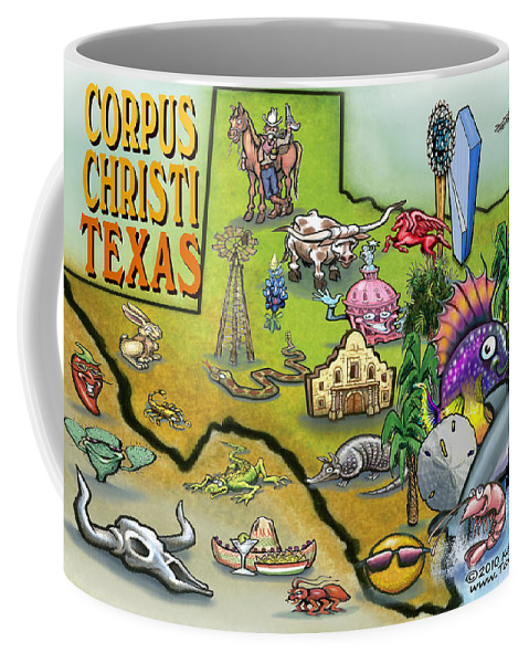 Corpus Christi Coffee Mug featuring the digital art Corpus Christi Texas Cartoon Map by Kevin Middleton
