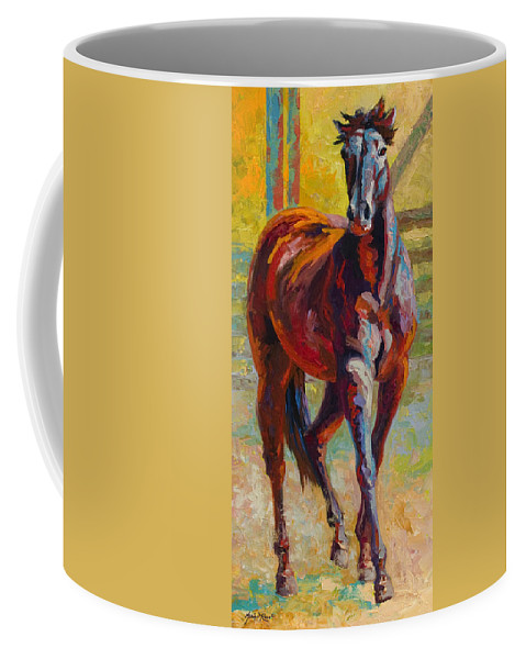 Horses Coffee Mug featuring the painting Corral Boss - Mustang by Marion Rose