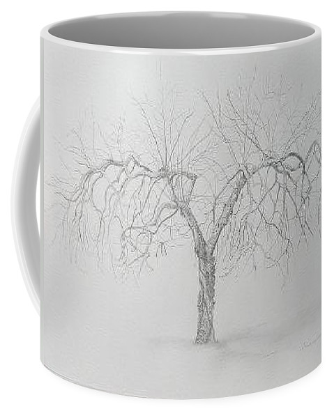 Cortland Apple Tree Coffee Mug featuring the drawing Cortland Apple by Leah Tomaino
