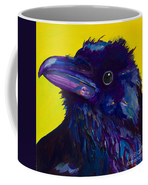 Bird Coffee Mug featuring the painting Corvus by Pat Saunders-White