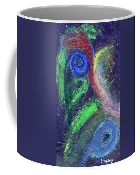 Psychedelic Coffee Mug featuring the painting Cosmic Activity # 7 by Craig Imig