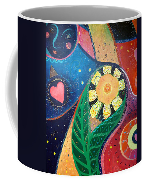 Yin And Yang Coffee Mug featuring the painting Cosmic Carnival II Aka Duality by Helena Tiainen