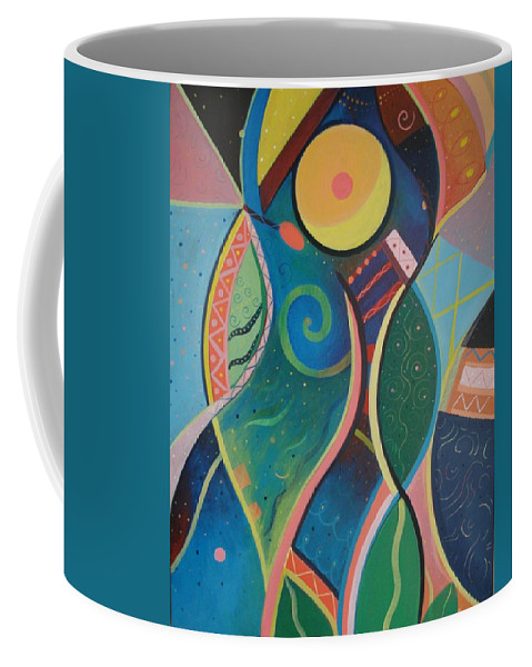 Abstract Coffee Mug featuring the painting Cosmic Carnival V Aka The Dance by Helena Tiainen