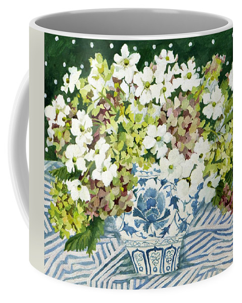 Cosmos Coffee Mug featuring the painting Cosmos And Hydrangeas In A Chinese Vase by Jennifer Abbot