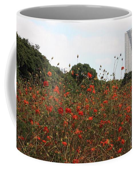 Tokyo Coffee Mug featuring the photograph Cosmos In Tokyo Garden by Carol Groenen