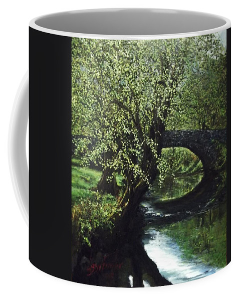 Tranquility Coffee Mug featuring the painting Cotswolds Scene 1 by Lizzy Forrester