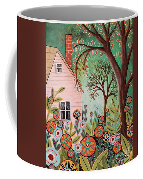 Landscape Coffee Mug featuring the painting Cottage Garden 1 by Karla Gerard