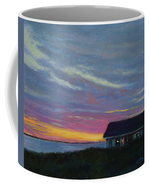 Landscape Coffee Mug featuring the painting Cottage With A View by Phyllis Tarlow