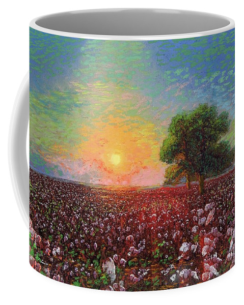 Floral Coffee Mug featuring the painting Cotton Field Sunset by Jane Small