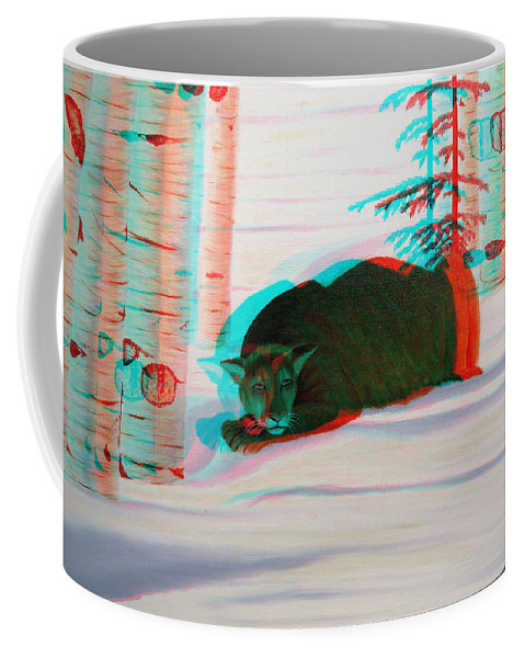 3d Coffee Mug featuring the photograph Cougar - Use Red-cyan 3d Glasses by Brian Wallace