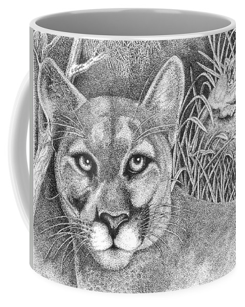 Wildlife Coffee Mug featuring the drawing Cougar by Lawrence Tripoli