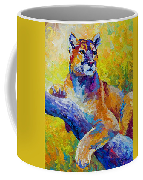 Mountain Lion Coffee Mug featuring the painting Cougar Portrait I by Marion Rose