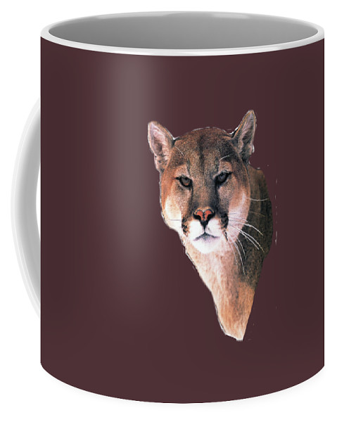 Cougar Coffee Mug featuring the painting Cougar View by Teresa Peterson