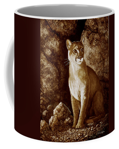 Cougar Coffee Mug featuring the painting Cougar Wait Until Dark by Frank Wilson