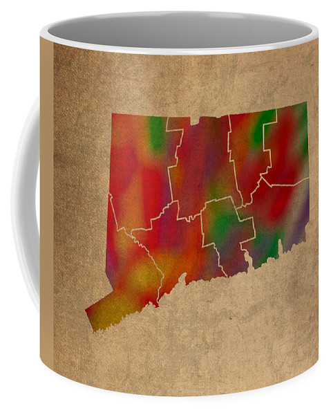 Counties Coffee Mug featuring the mixed media Counties Of Connecticut Colorful Vibrant Watercolor State Map On Old Canvas by Design Turnpike