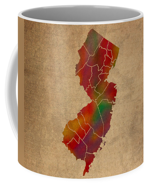 Counties Coffee Mug featuring the mixed media Counties Of New Jersey Colorful Vibrant Watercolor State Map On Old Canvas by Design Turnpike