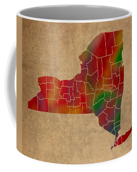 Counties Coffee Mug featuring the mixed media Counties Of New York Colorful Vibrant Watercolor State Map On Old Canvas by Design Turnpike