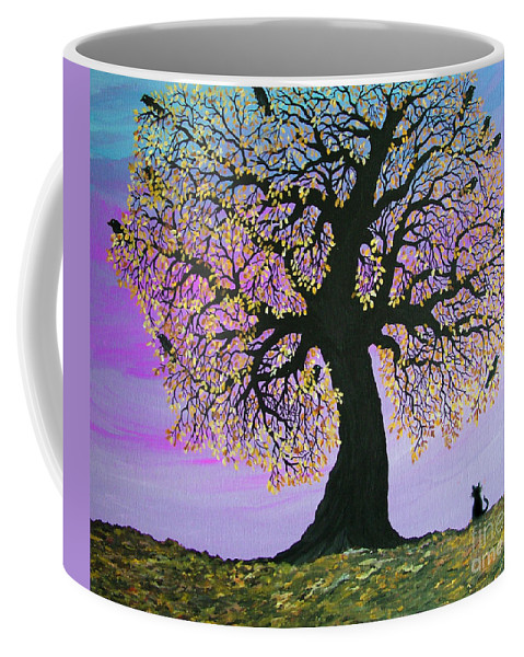 Crowes And Cat Coffee Mug featuring the painting Counting Crowes by Nick Gustafson