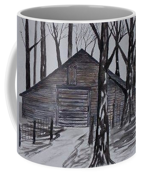 Watercolor Landscape Painting Barn Pen And Ink Drawing Print Original Coffee Mug featuring the painting COUNTRY BARN pen and ink drawing print by Derek Mccrea