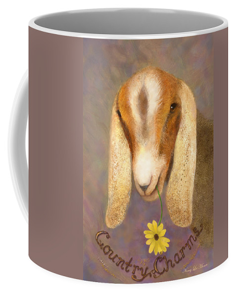 Nubian Dairy Goat Coffee Mug featuring the painting Country Charms Nubian Goat With Daisy by Nancy Lee Moran