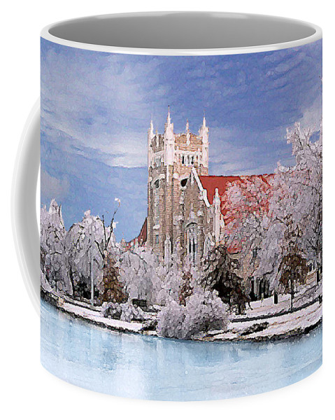 Winter Coffee Mug featuring the photograph Country Club Christian Church by Steve Karol