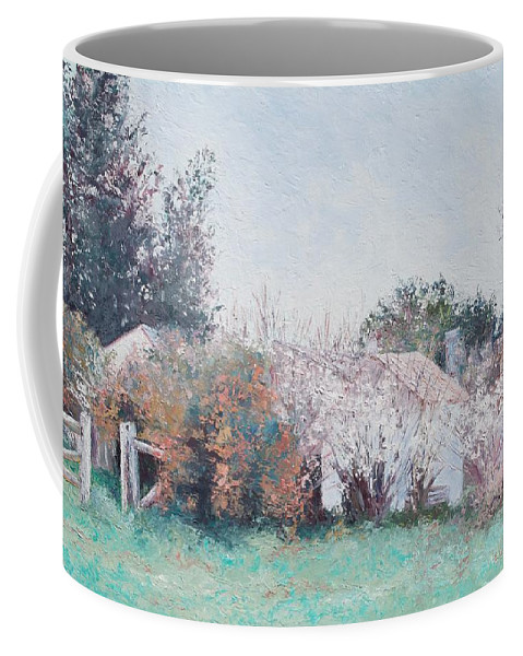 Country Cottage Coffee Mug featuring the painting Country Cottage In Spring Time by Jan Matson