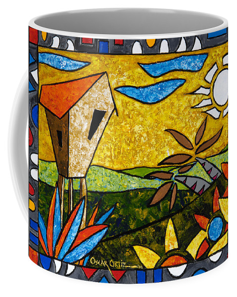 Puerto Rico Coffee Mug featuring the painting Country Peace by Oscar Ortiz
