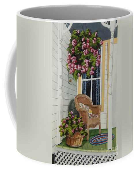 Country Porch Coffee Mug featuring the painting Country Porch by Charlotte Blanchard