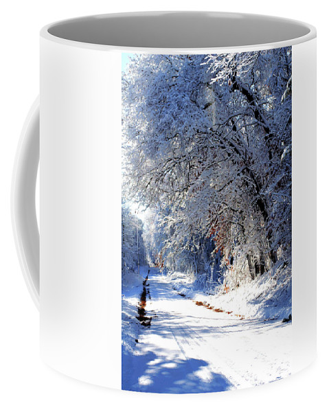 Snow Coffee Mug featuring the photograph Country Road by Bill Morgenstern
