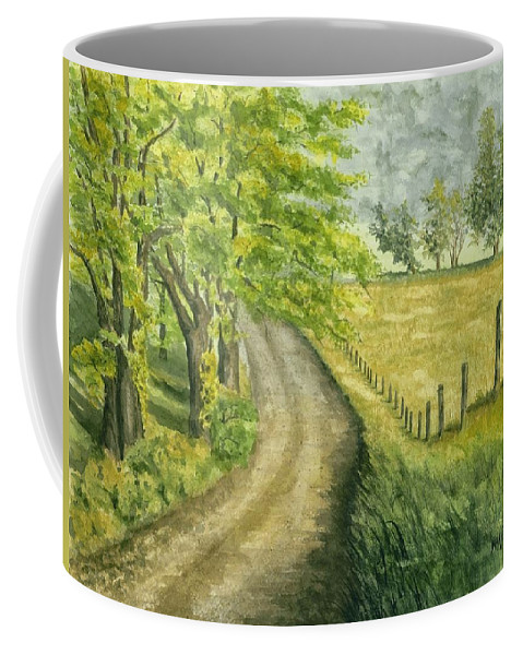 Country Coffee Mug featuring the painting Country Road by Mary Tuomi