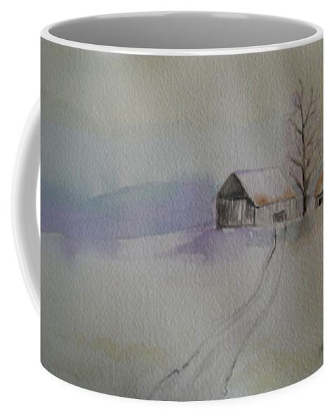 Barn Snow Winter Tree Landscape Cold Coffee Mug featuring the painting Country Snow by Patricia Caldwell