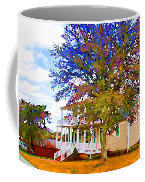 Outdoor Coffee Mug featuring the painting Countryside House 1 by Jeelan Clark