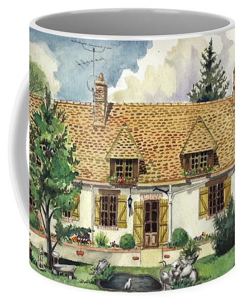 House Coffee Mug featuring the painting Countryside House In France by Alban Dizdari