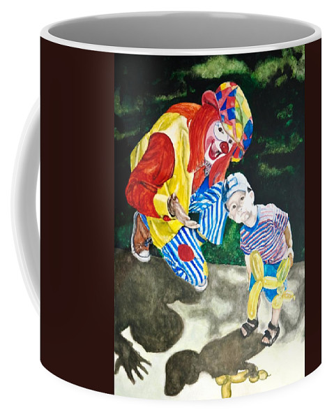 Clown Coffee Mug featuring the painting Couple Of Clowns by Lance Gebhardt
