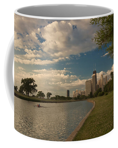 Chicago Skyline Coffee Mug featuring the photograph Couple Rowing In Chicago by Sven Brogren