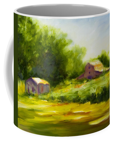Landscape In Green Coffee Mug featuring the painting Courage by Shannon Grissom